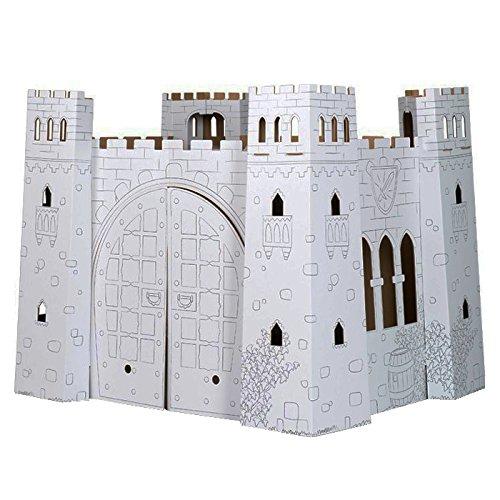 """small foot 10017 Spielhaus \""""Burg\"""" aus Bastelkarton, detailreich gestaltet, mit Fenster, Tür zum Öffnen, bemalbar, ab 3"""