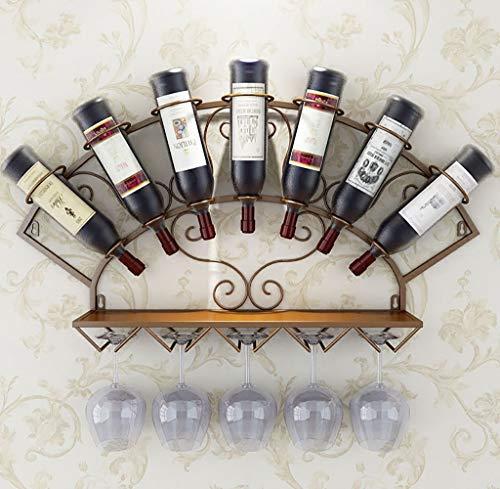 LlJJA Botelleros Estante de Vino Ventilador de Hierro Colgante Estante de Vino decoración Estante Bar, Restaurante, Cocina Colgante Estante de Vidrio (Color : C)