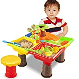 VeroMan どこでも 砂遊び 水遊び サンドテーブルセット 子供 おもちゃ 椅子付き 室内 アウトドア 海水浴 ビーチ 公園 潮干狩り (ツリー-四角型)