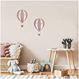 2er Set Heißluftballons Wandtattoo Wandsticker Aufkleber für Kinderzimmer Babyzimmer Aquarell Ballon Y032 (Altrosa)