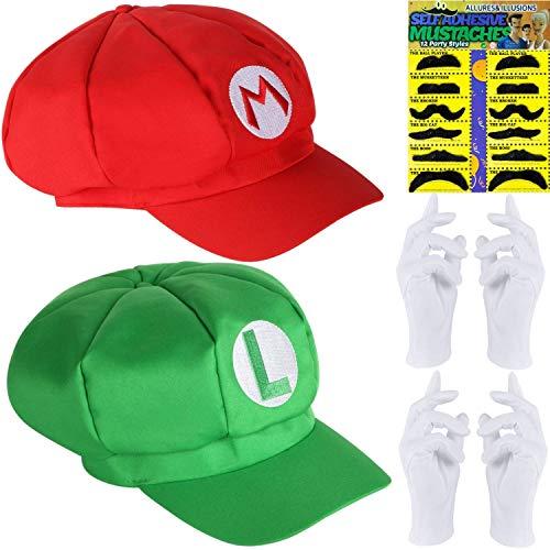 SUPER Doppelpack | Super Mario + Luigi Mütze + 12x Klebe Bart + 2 Paar weiße Handschuhe zu Fasching und Karneval für Kinder, Herren und Damen
