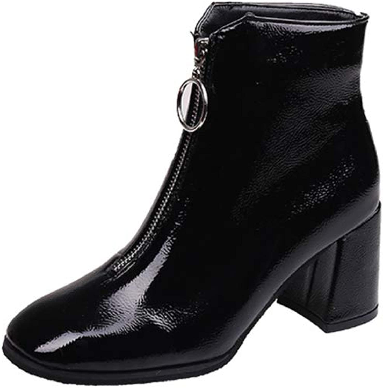 Women's Comfortable Closed Toe shoes high Heel Walking Boot