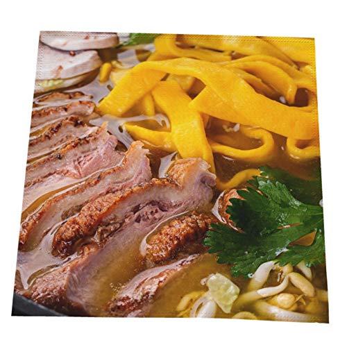 Ye Hua Ramen Nudelsuppe Tischgeschmack mit Rindfleischgeschmack, Tischsets aus Polyester, rutschfeste waschbare Kaffeematten, hitzebeständige Küchentabletten 4er-Set