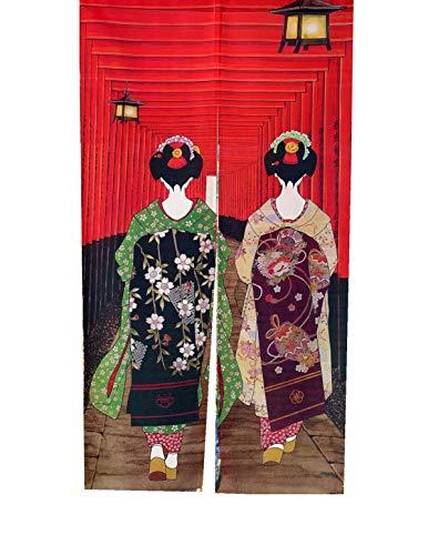 LIGICKY Japanische Noren Lang Vorhang Türvorhang Tapisseri Fliegen Insektenvorhang Raumteiler 85 x 150 cm ,Rot(Kyoto-Geisha-Mädchen am Fushimi Inari-Schrein)