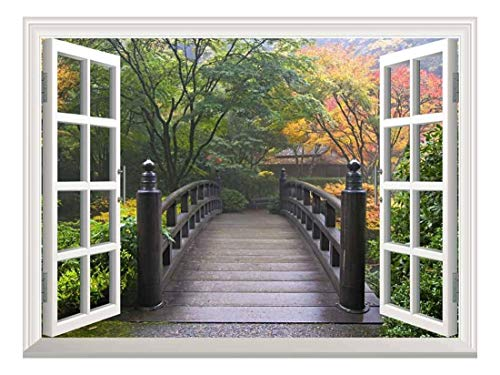 wall26 Modern White Window Looking Out Into a Bridge on a Japanese Garden - Wall Mural, Removable Sticker, Home Decor - 24x32 inches
