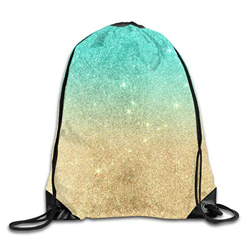 Coulisse Zaino Borsa Coulisse Sacca Gym Aqua Teal Abstract Gold Ombre Glitter per Picnic Gym Sport Beach Yoga Sacca Sportiva 36X43CM