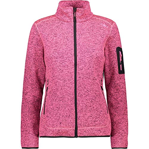 CMP Knitted Melange Fleece Woman Jacket PINK Fluo Mel.-Antracite 38