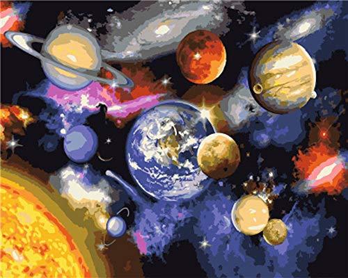 Adultos Kits de pintura por números,abstracto universo planeta acrílico coloreado los niños pintados a mano de pintura,Tema de arte de pared modular Salón Dormitorio decoración,con bastidor 40*5