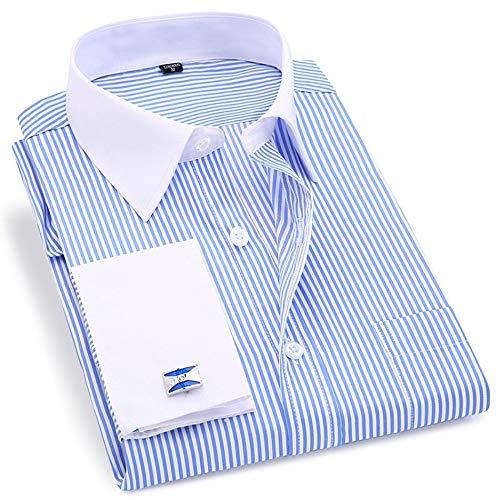 CWENROU Herrenhemd,Mode Frühling Und Herbst Herren Retro Manschettenknöpfe Business Formal Shirt Langarm Hellblau Twill Komfortable Und Elegante Outdoor-Sport Schlank Komfortabel, M