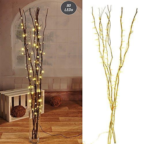Lichterzweige mit 80 LEDs gold Beleuchtung Lichterkette Leuchtzweig Dekoration Lichter Zweig