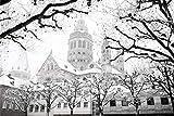Mainz City Winter Art Design XXL Wandbild Kunstdruck Foto