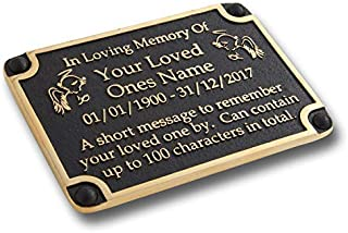 The Metal Foundry Personalised Memorial Angels Metal Plaque for Memory of A Loved One, Mother, Father Or Grandparents. with Stake As Garden Stones Statue Gift Alternative Idea Handmade in Brass