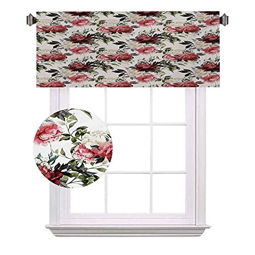 Cenefas cortas de acuarela, arreglo botánico con ramillete de peonía rosa alma, amor romántico, San Valentín, cortinas de ahorro de energía para cortinas de baño, ancho 120 x largo 30 cm, multicolor