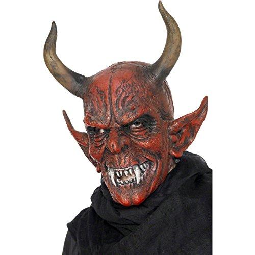 Amakando Latexmaske Dämon Teufelsmaske Vollmaske Halloween Teufel Maske Satan Kostüm Zubehör Bestie Halloweenmaske Mephisto