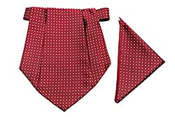 Classique Enterprises Mens Cravat with Pocket Square (Maroon, Standard)