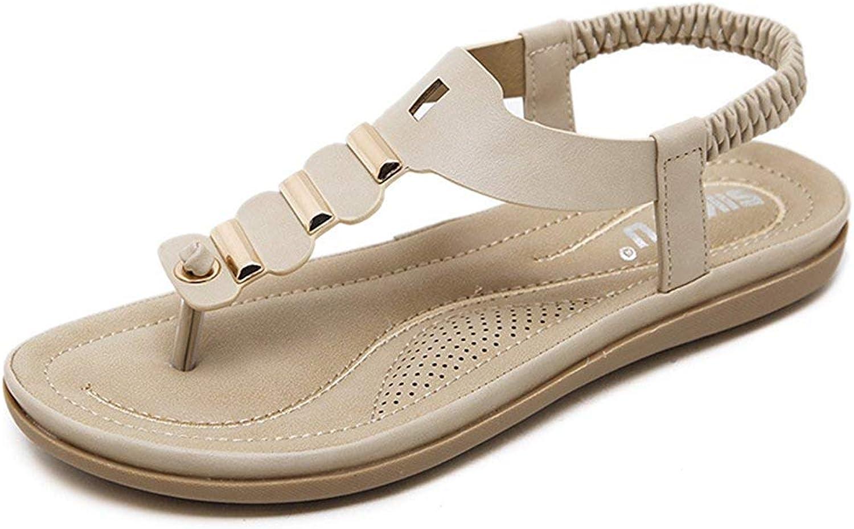 Gedigits Women's Trendy Elastic Strap Anti Skid Vacation Beach shoes Sling Back Flats Thong Sandals Beige 5 M US