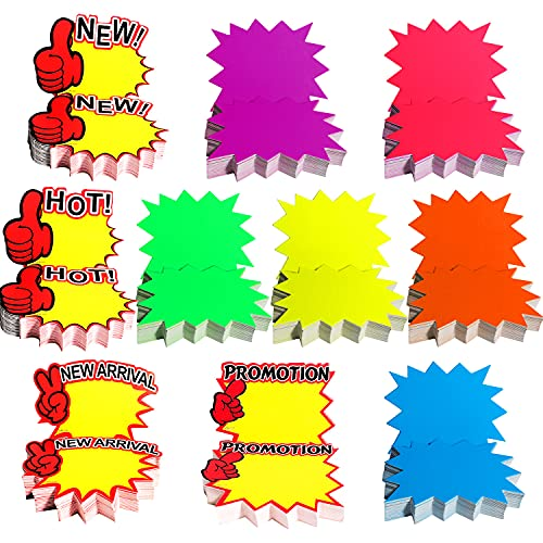 500 Pcs Blank Starburst Signs Star Burst Sale Signs Fluorescent Neon Paper Signs Sale Tags for Retail Store,3.5×2.8in