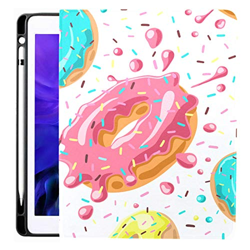 Pink Chocolate Lemon Blue Mint Donuts For Ipad Pro 12.9 Inch 2020 Release Ipad Covers With Pencil Holder Ipad Cases And Covers Tpu Without Folding Cover Ipad Accessories Applicable Model A229/a2233/a