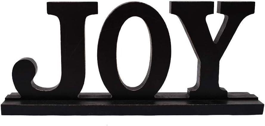 Wood Joy Sign for Home Decor, Wooden Joy Block Letters Rustic Tabletop Words Decor (Black Joy Sign)