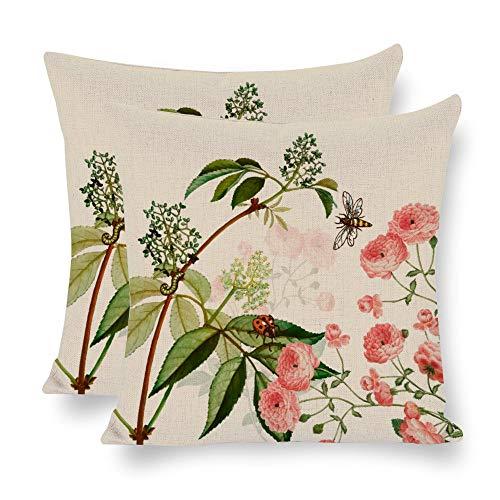 Hioilyday FXH20200122IST044 - Juego de 2 fundas de almohada de lino con diseño de flores y ramas de árboles, doble cara, para verano, exóticas plantas, para el hogar, para decoración del hogar, 45 x 45 cm