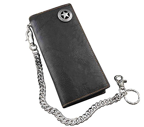 Biker Rock Star Concho Mens Card Money Long Black Real Leahter Wallet With Chain