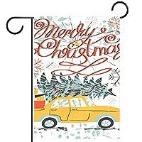 小さな庭の旗庭の装飾芝生の装飾ホオジロ旗屋外の農家の装飾 メリークリスマスレトロな車の木 両面バナー紬生地