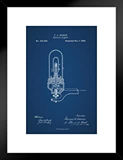 Poster Foundry Edison Electric Light Bulb 1880 Official Patent Blueprint Matted Framed Wall Art Print 20x26 inch