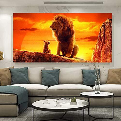 El Rey León, carteles de películas e impresiones, arte de pared, pintura en lienzo, imagen de animal, arte de pared para la decoración del hogar de la sala 20x35 CM (sin marco)