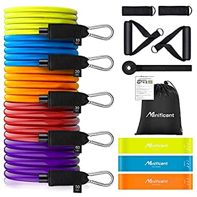 Manificent Resistance Bands Set, Heavy Duty Workout Bands, Exercise Bands, Tube Fitness Bands, 150 LBS with Handles, Door Anchor, Leg Straps, Mini Band for Men Women at Home Workout, Weight Training