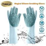 Silikon Handschuhe Reinigunghandschuhe mit Waschbürste Magische Wiederverwendbare Waschhandschuhe Abwasch, Schwammhandschuhe für Küchenhaushalte Hitzebeständige Tierhaarpflege und Handschutz