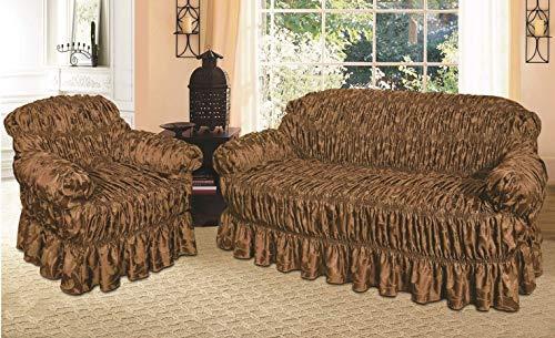 Funda de sofá Jacquard y funda de asiento / alternativa a la manta de sofá (sofá chocolate, 2 plazas)