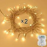100er LED Outdoor Lichterkette Batterienbetrieben mit Timer Warmweiß deal für CHRISTMAS, Festlich, Hochzeiten, Geburtstag, PARTY, NEW YEAR Dekoration, HÄUSER ETC (8 Modi, Außenbeleuchtung) (2*100er)