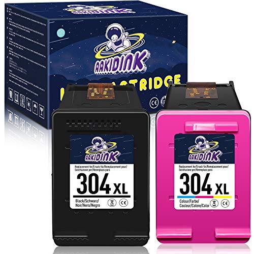 AAKIDINK 304 XL Tricolor Negro Remanufacturados Cartuchos de tinta para hp 304XL para hp Envy 5020 5010 5030 5032 5055 DeskJet 2600 2630 2620 3720 2633 2622 2632 AMP 130100120 Impresoras (2Confezione)