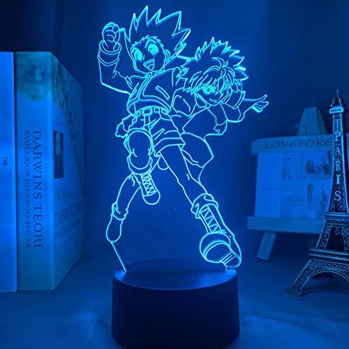 Lámpara de noche 3D Hunter X Hunter Anime 3D Killua and Gon LED Night Light for Kids Bedroom Decor Killua Zoldyck Birthday Gift Manga Toy Lámpara de mesa 7 Color Touch Luoxia