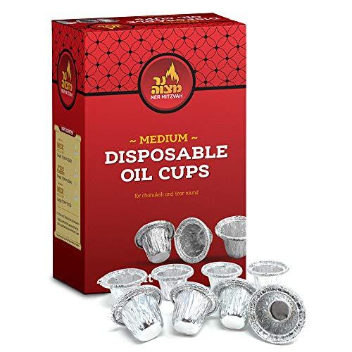 Disposable Foil Menorah Drip Cups for Oil Menorahs - Liners Inserts for Oil Menorah Cups - Medium