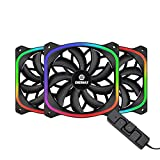 Enermax Squa RGB PWM 120mm Case Fan, Addressable RGB Sync Via Motherboard/Control Box, 3 Fan Pack- Black; UCSQARGB12P-BP3