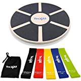 Yes4All Combo Wooden Wobble Balance Board & Loop Resistance Bands with Carry Bag, Special Combo for Home Gym Workout, Physical Therapy