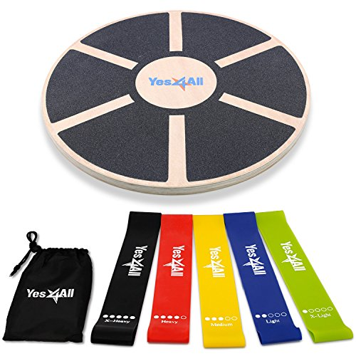 Yes4All PFP9 Special Combo: Wooden Wobble Balance Board & Resistance Loop Bands with Carry Bag (Set of 5) – Elastic Stretch Bands/Pull Up Assist Bands, Black Board + Resistance Band