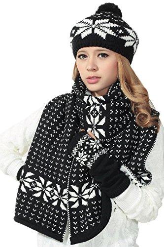 Jumojufol Le Donne Sono 3 Pezzi Natale A Crochet Fiocco Di Neve Inverno Sciarpa Guanti Cappello