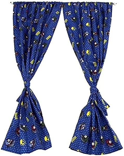 托马斯和朋友的窗户窗帘儿童房杆口袋窗帘 1 对与领带背超细纤维 42X63 在
