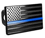 MULL USA American Flag Metal Trailer Hitch Cover (Fits 2' Receivers, Black with Thin Blue line)