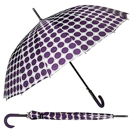 J.S ONDO Paraguas Lunares Largo 96cm Cerrado Mujer, Paraguas Automático Grande Plegable,...