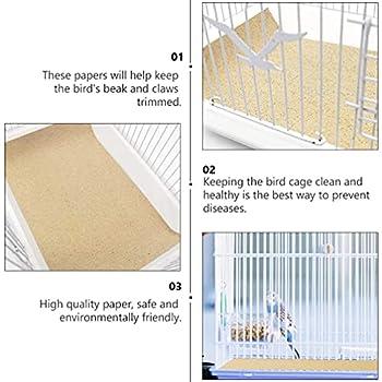 STOBOK 10 Feuilles Oiseau Cage Doublures Gravier Papier Perroquet Cage Ponce Coussin Pad Pet Litière pour Animaux Accessoires pour Perruches Calopsittes Conures Griffe Broyage Couleur