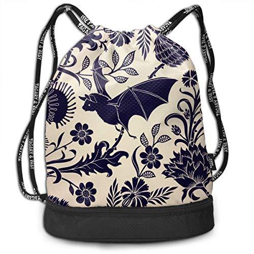 1Zlr2a0IG Multifunctional - Bat Flower Art 3D Print Drawstring Backpack - Portable Shoulder Bags Travel Sport Gym Bag - Yoga Runner Daypack Shoe Bags