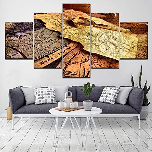 NHBTGH Drucken Sie auf Leinwand HD Drucke Vintage Karte und Lupe 5 Teilig Leinwand Poster Wandkunst Wandbild Wanddeko 150x80 cm, für Wohnzimmer (ohne Rahmen)