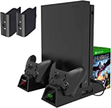 UMTELE Cooling Stand Compatible with Xbox One X/Xbox One S/Xbox One Controller, Vertical Charging Station with 2 Pack 600mAh Batteries & Games Storage, Dual Controller Charging Station