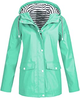 DongDong✫Outdoor Waterproof Raincoat,Women's Stripe Hoodie Solid Plus Size Drawstring Windproof Rain Jacket