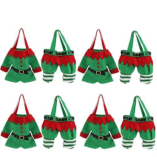 WWWL Bolsas de Dulces de Navidad, 8 PCS Set Creative Santa Top and Pants Style Candy Bag Bolsa de Botella de Vino Navidad Bolsas de Regalo de Caramelo for Decoraciones navideñas