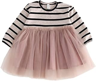 Xifamniy Infant Girls Long Sleeve Princess Skirt Striped Sweater Stitching Mesh Dress