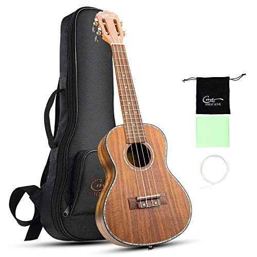 Hricane Concert Ukulele 23 Inch Spruce Top Walnut Cutaway Hawaii Ukulele for Beginners Kids with Ukulele Strings Straps Bag Tuner Picks